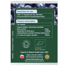 Organic Bilberry 75mg